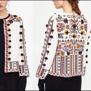 Zara embroidered pom pom jacket